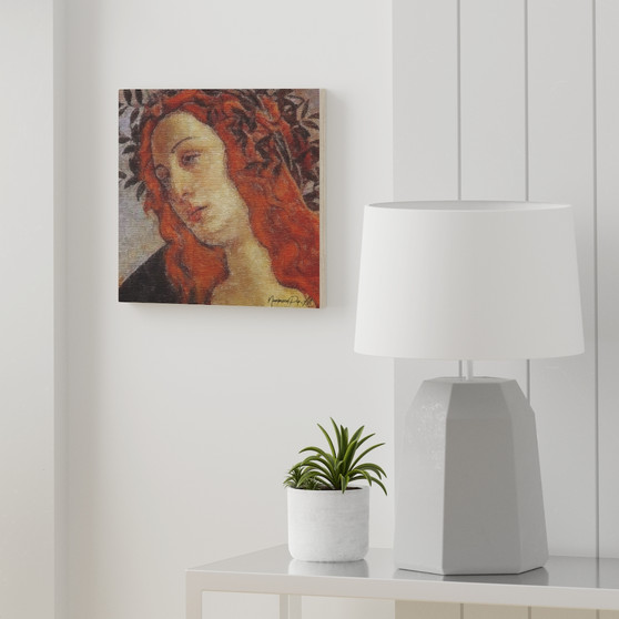 On Sale Botticelli Huntress Portrait Print on Wood Canvas by Neoclassical Pop Art