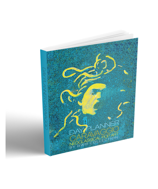 academic year planner july 2018-2019, collectible Caravaggio's Medusa Neoclassical Pop Art cover by BWM collection