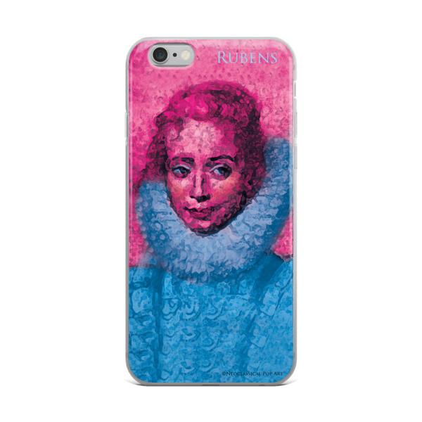 Neoclassical pop art Pink and blue rubens clara serena child portrait iphone cases