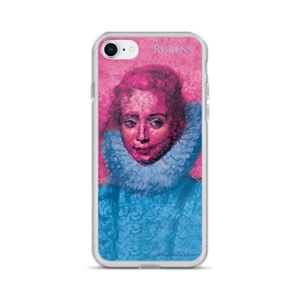 Collectible Neoclassical pop art Pink and blue rubens clara serena child portrait  iphone cases