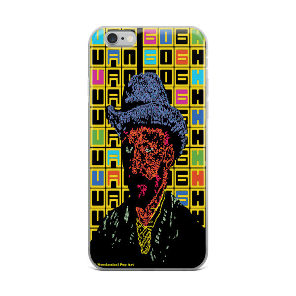 van gogh grey felt hat self-portrait neoclassical pop art iphone case with words for sale