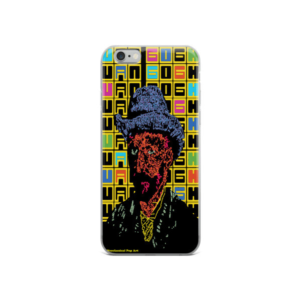 colorful van gogh grey felt hat self-portrait neoclassical pop art iphone case with words for sale