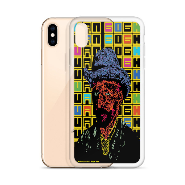 van gogh grey felt hat self-portrait neoclassical pop art van gogh portrait  iphone case with words for sale