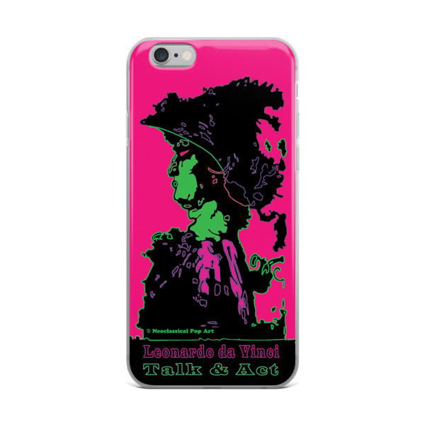 Neoclassical pop art Leonardo da vinci Sweet pink and green iphone case
