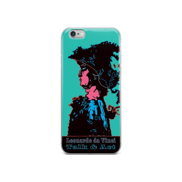 Leonardo da Vinci Talk & Act Neoclassical Pop Art Turquoise Blue iPhone Cases. Collectible.