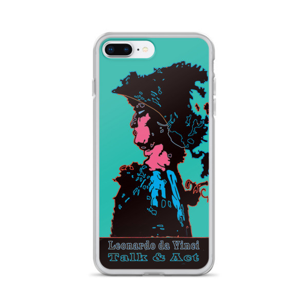 Buy online Leonardo da Vinci Talk & Act Neoclassical Pop Art Turquoise Blue iPhone Cases