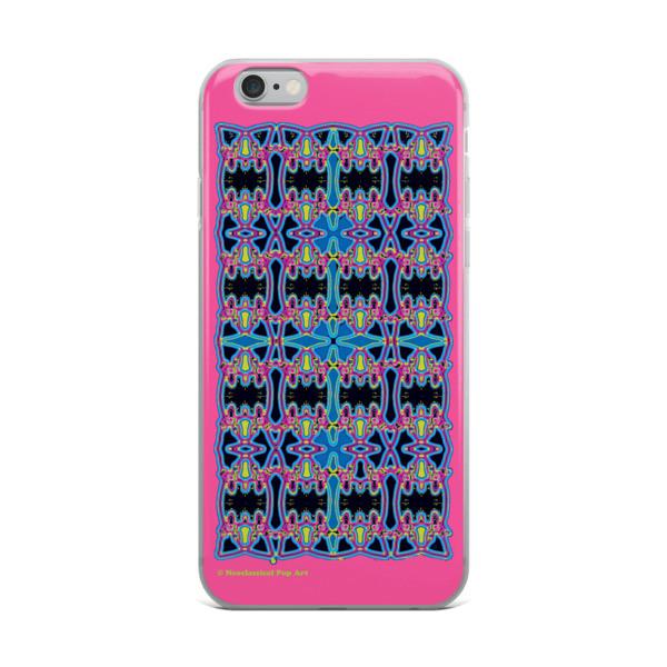 Blue Pink Rose Cross Geometric da vinci neoclassical pop art collectible iphone cover