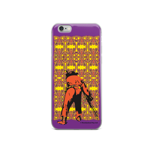 the best Neoclassical pop art yellow orange purple Manet ft. da Vinci iPhone Cases