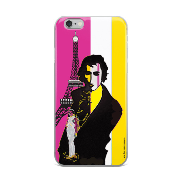 on sale Yellow Pink eiffel tower  napoleon Jacques-Louis David Neoclassical Pop Art iphone case