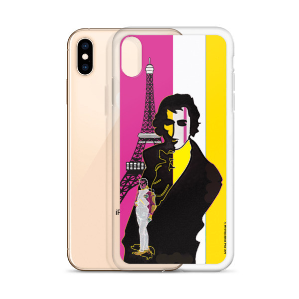 buy online the best Yellow Pink eiffel tower  napoleon Jacques-Louis David Neoclassical Pop Art iphone case