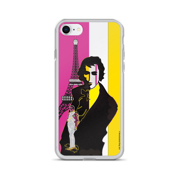 buy online creative Yellow Pink eiffel tower  napoleon Jacques-Louis David Neoclassical Pop Art iphone case
