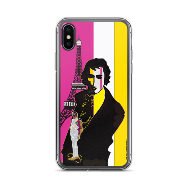 buy online  cool Yellow Pink eiffel tower  napoleon Jacques-Louis David Neoclassical Pop Art iphone case