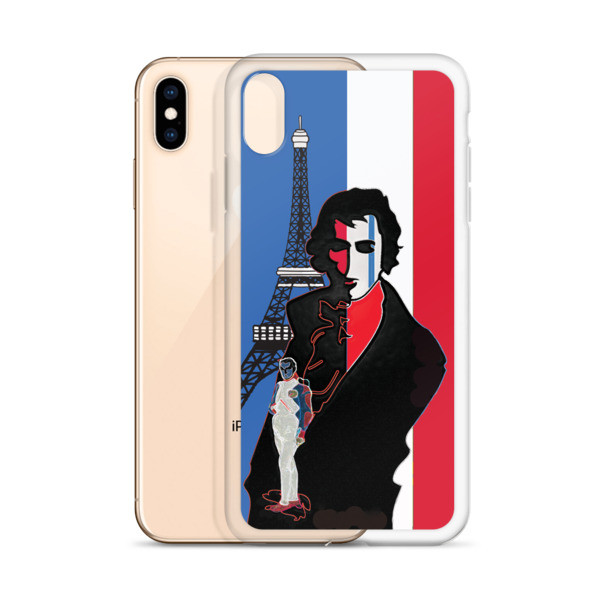 collectible Blue white red french flag  eiffel tower  napoleon Jacques-Louis David Neoclassical pop art iphone case on sale