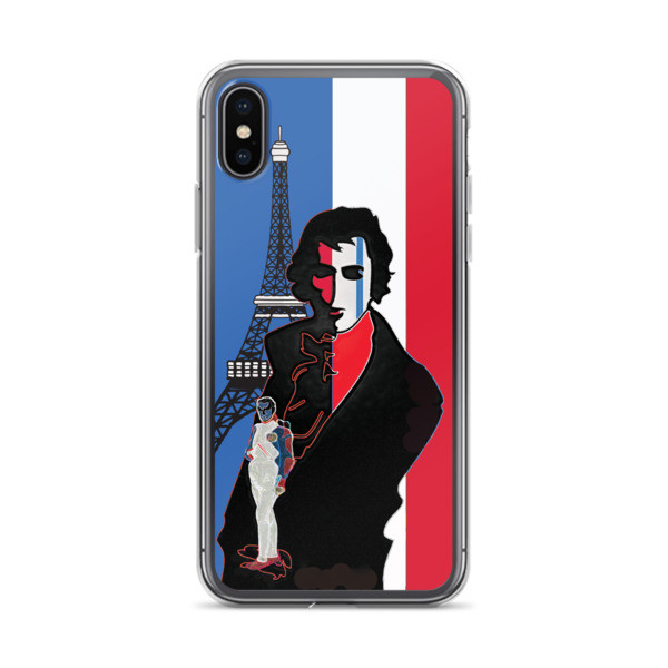 designer Blue white red french flag  eiffel tower  napoleon Jacques-Louis David Neoclassical pop art iphone case on sale online