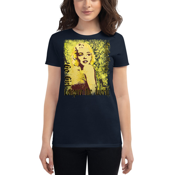 dark blue Collectible Marilyn Monroe Go Girl Women's short sleeve t-shirt by Neoclassical Pop Art