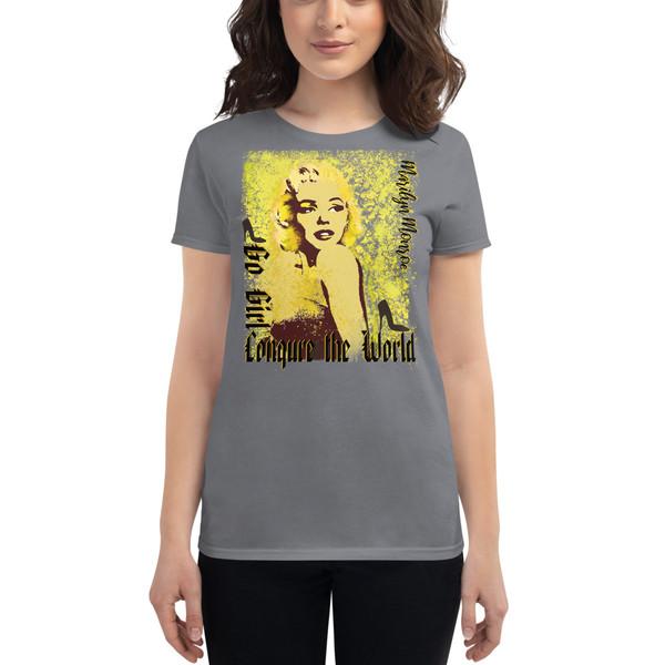 gray Collectible Marilyn Monroe Go Girl Women's short sleeve t-shirt by Neoclassical Pop Art