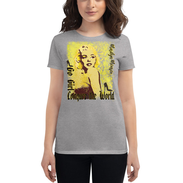 light gray Collectible Marilyn Monroe Go Girl Women's short sleeve t-shirt by Neoclassical Pop Art