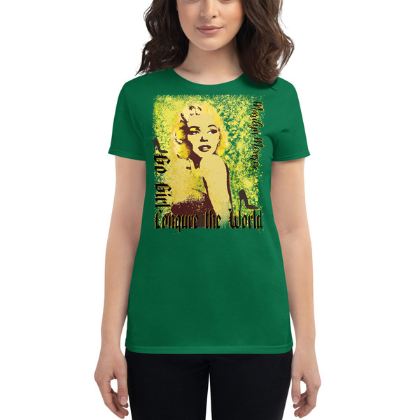 green Collectible Marilyn Monroe Go Girl Women's short sleeve t-shirt by Neoclassical Pop Art