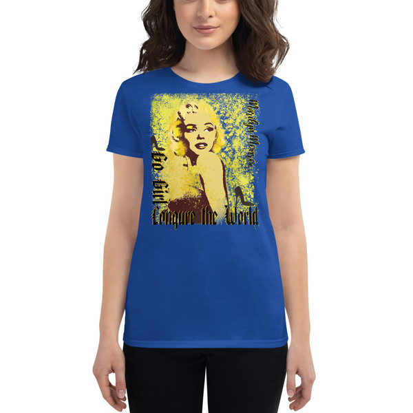 blue Collectible Marilyn Monroe Go Girl Women's short sleeve t-shirt by Neoclassical Pop Art