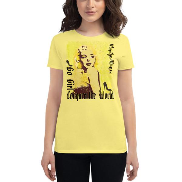banana yellow Collectible Marilyn Monroe Go Girl Women's short sleeve t-shirt by Neoclassical Pop Art