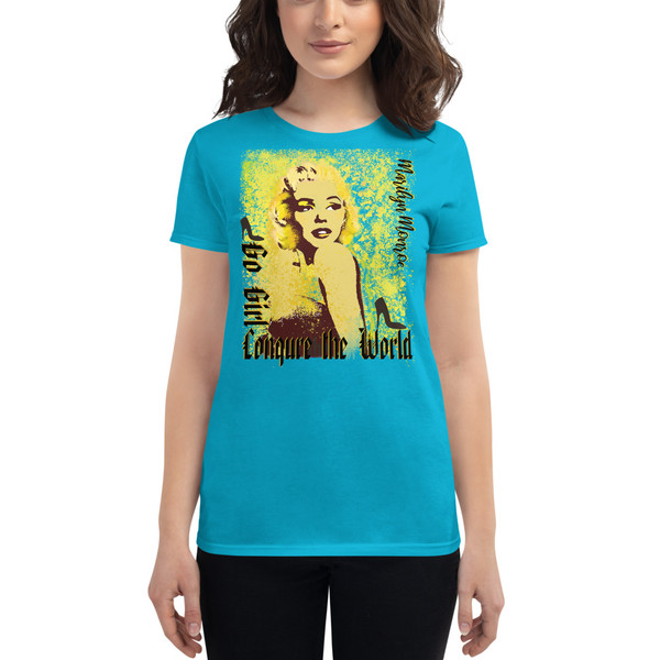 light blue Collectible Marilyn Monroe Go Girl Women's short sleeve t-shirt by Neoclassical Pop Art