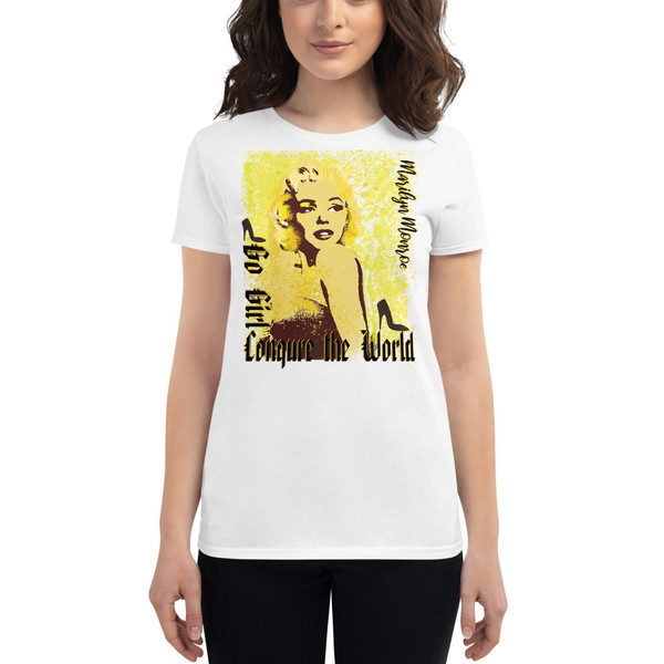 white Collectible Marilyn Monroe Go Girl Women's short sleeve t-shirt by Neoclassical Pop Art