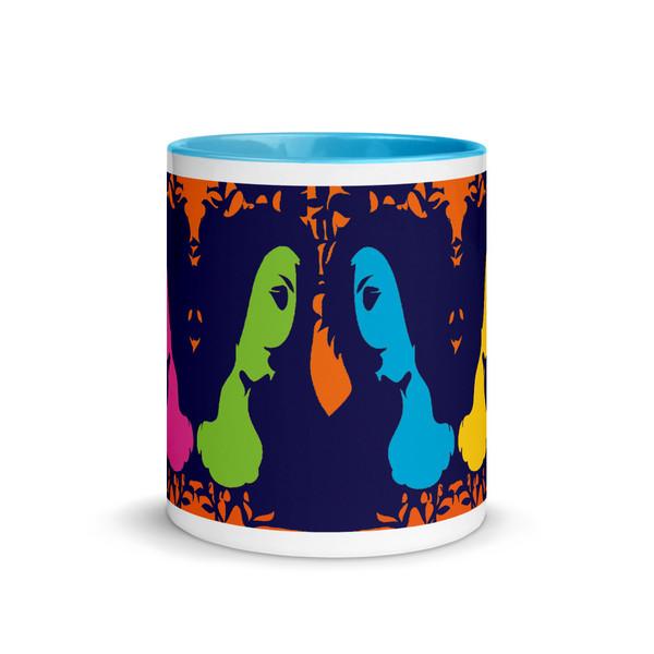 Sandro botticelli orange, blue, green, yellow, pink art collectors mug by Neoclassical Pop Art