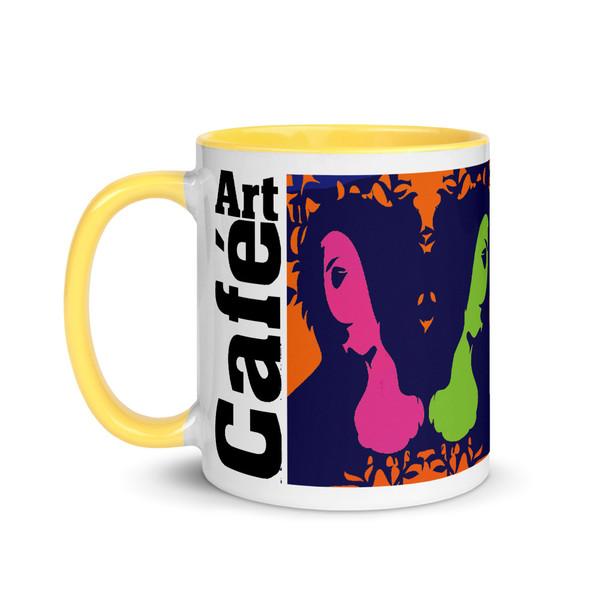 Sandro botticelli orange, blue, green, yellow, pink cute coffee mug by Neoclassical Pop Art