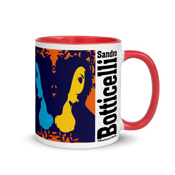 Sandro botticelli orange, blue, green, yellow, pinkart coffee collectible mug by Neoclassical Pop Art