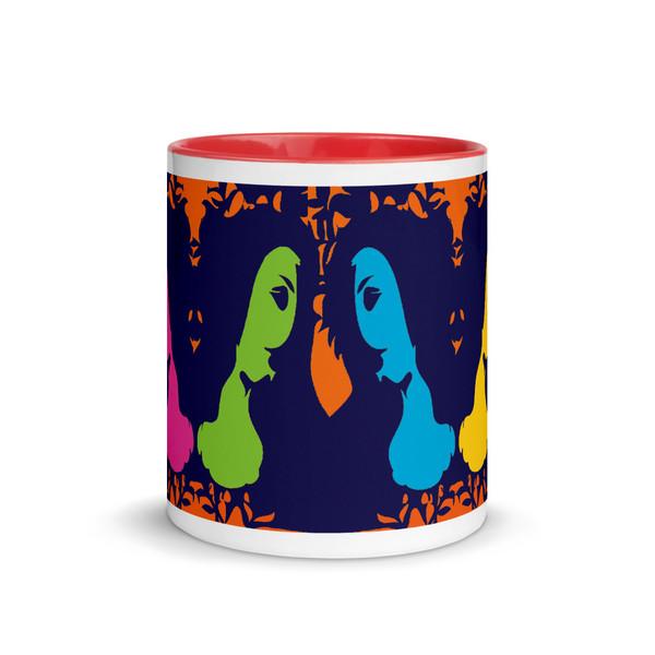 Sandro botticelli orange, blue, green, yellow, pinkart coffee artistic mug by Neoclassical Pop Art