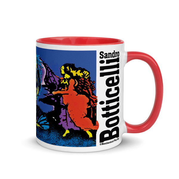 Sandro Botticelli mug for lovers. Venus rising from the sea mug by Neoclassical Pop Art with typography