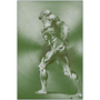On Sale Rubens Anatomical Male Nude Olive Green Print on Metal by Neoclassical Pop Art