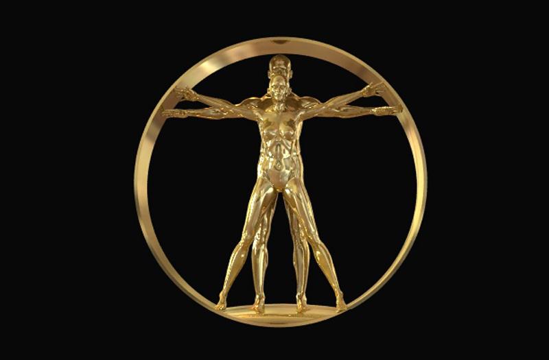 Neoclassical Pop Art 3D vitruvian Man