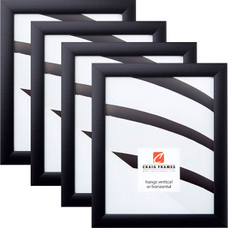 """Contemporary 1"""", Gallery Black Picture Frame - 4 Piece Set"""