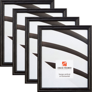 "Wiltshire 200 .75"", Ebony Picture Frame - 4 Piece Set"
