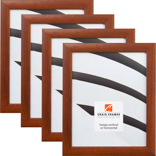 "Contemporary 1"", Honey Brown Picture Frame - 4 Piece Set"