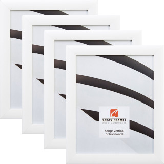 "Contemporary 1"", White Satin Picture Frames - 4 Piece Set"