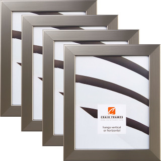 """Bauhaus 125 1.25"""", Stainless Silver Picture Frames - 4 Piece Set"""