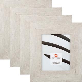 "Bauhaus 300 3"", Restoration White Picture Frames - 4 Piece Set"