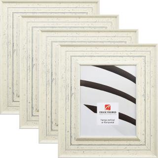 """Chesapeake Bay 3"""", Alabaster White Picture Frames - 4 Piece Set"""