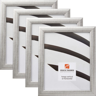 """Contemporary 1"""", Scratched Silver Picture Frames - 4 Piece Set"""