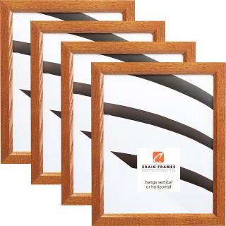 "Economy .875"", Honey Brown Picture Frames - 4 Piece Set"
