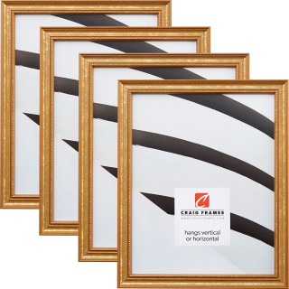 """Stratton .75"""", Aged Gold Picture Frame - 4 Piece Set"""