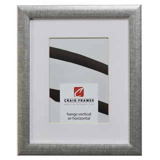 """Contemporary 1"""", Matted Scratched Silver Picture Frame"""