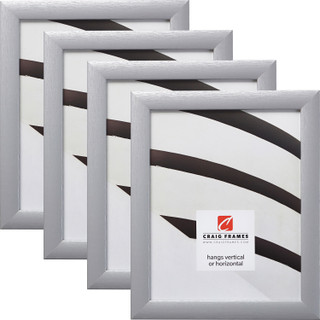 """Contemporary 1"""", Brushed Silver Picture Frames - 4 Piece Set"""