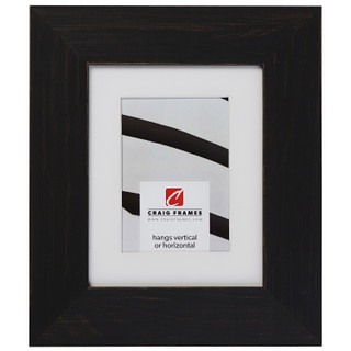 """Jasper Wide 2.5"""", Rustic Charcoal Black Matted Picture Frame"""