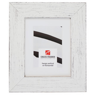 """Jasper Wide 2.5"""", Rustic Marshmallow White Matted Picture Frame"""