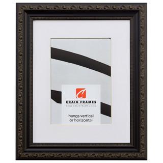 "Ancien Ornate 1.25"", Antique Black Matted Picture Frame"