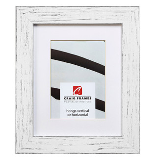"""Jasper 1.5"""", Country Marshmallow White Matted Picture Frame"""