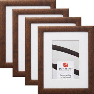 """Contemporary 1"""", Matted Rustic Copper Picture Frames - 4 Piece Set"""